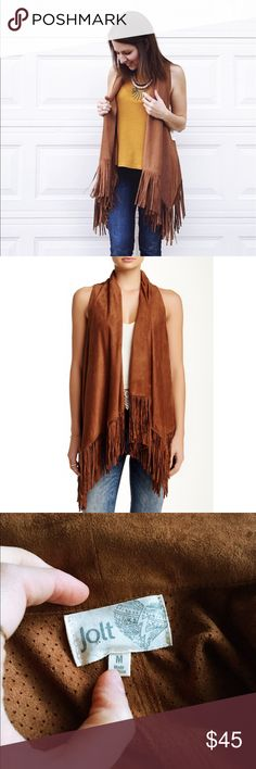 NWT Jolt Cognac Faux Suede Fringe Vest Perfect condition, never worn. Lightweight and breathable, soft and flowy. Boho chic, perfect for concerts, festivals or just perfect for your every-day, average hippie. Jolt Jackets & Coats Vests