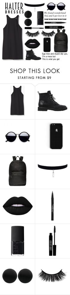"""""""Black Halter Dress ♡♡"""" by blue-eyed-beauty13 ❤ liked on Polyvore featuring MANGO, Giuseppe Zanotti, Kenneth Cole Reaction, Lime Crime, Trish McEvoy, NARS Cosmetics, Lord & Berry, Thomas Sabo and halterdresses"""