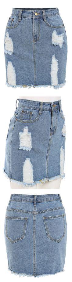 Frayed Denim Pencil Skirt