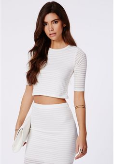 Otelia Burnout Ribbed Crop Top White is on sale now for - 25 % ! is on sale now for - 25 % !