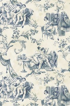 Blue Floral Wallpaper, Toile Wallpaper, Pattern Wallpaper, Art Rules, Tribal Art, Designer Wallpaper, Erotic Art, Background Patterns, Chinoiserie
