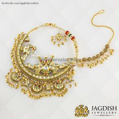 A traditional bridal nath/nose ring Indian Wedding Jewelry, Indian Jewelry, Bridal Jewelry, Nath Bridal, Mughal Jewelry, Temple Jewellery, Antique Jewellery Designs, Gold Jewellery Design, Rajputi Jewellery