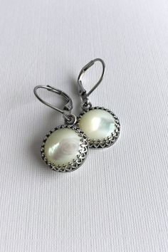 Mother of Pearl Earrings, Antique Silver Jewelry, Hypoallergenic Steel Leverbacks, Round Ivory Pearl Drops, Mother of Pearl Jewelry