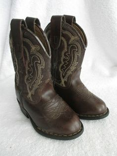 Express Rider Cowboy Boots 6 Wide Brown Toddler Baby Boy Shoes 6W