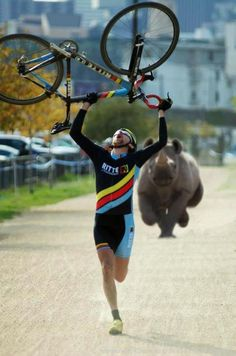 south african cyclocross...odd that a Rhino would be running through a parking lot...