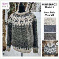 Vi er så heldige å ha et samarbeid med flinke Anna-Sofía Vetursól, islandsk designer bosatt i Oslo. Her er hennes nydelige Winterfox-genser strikket i Lettlopi. Inklusiv i prisen ved kjøp av garnpakker er den norske oppskriften som Anna-Sofía får betalt for pr solgt garnpakke hos oss. Utskrift av oppskriften sendes sammen med garnet. Oppskriften kommer i størrelsene XXS, XS, S, M, L, XL, 2XL, 3XL og 4XL. Overvidde: 71, 80, 89, 98, 107, 115, 24, 132, 141 cm Lengde til ermhull: 34, 36, 38, 40,