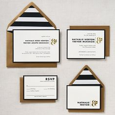 Foil Stamped Horizontal Ampersand Wedding Invitation - Nathalie & Trevor | Paper Source