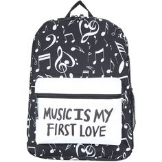 Music Is My First Love Backpack Hot Topic ($24) ❤ liked on Polyvore featuring bags, backpacks, padded bag, print bags, zip bag, white backpack and pattern bag