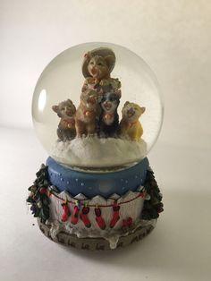San Francisco Music Box Company Cat XMAS themed Snow Globe Deck The Halls • $25.99 - PicClick