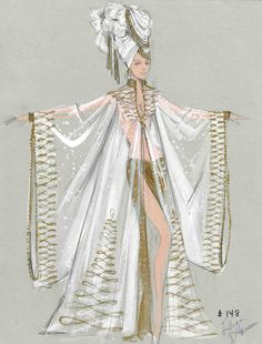 """A Bill Campbell costume design drawing of a female showgirl wearing a robe for the show """"Hello America!"""" in Las Vegas, circa 1960s.  The sheer robe is gold and white colored, and it is accompanied by matching earrings and a head scarf.  Image is part of UNLV Libraries """"Showgirls"""" digital collection."""
