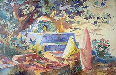 Peinture Algérie - Cimetière aux femmes Maures par Edouard Herzig