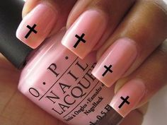 Nail WRAPS Nail Art Water Transfers Black Cross for Natural or False Nails