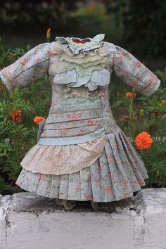 Marvelous antique Bebe doll dress, cotton flanel, lace, chiffon