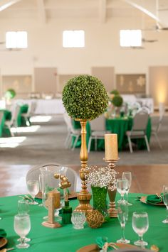Emerald and Gold, topiary balls