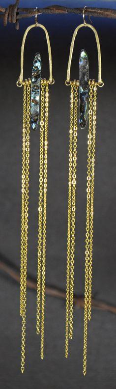 Abalone SunRise Brass Long Chandelier Earrings | Sonia Lub | Handmade intentional eco-friendly jewelry