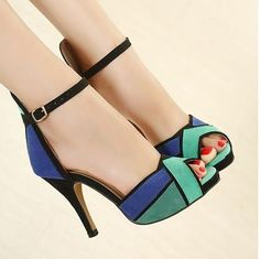 Color Block Peep-toe Stiletto High Heels Ankle Wrap Sandals