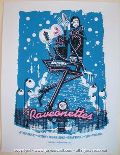 The Raveonettes w/ Be Your Own Pet and Go Fever - silkscreen concert poster (click image for more detail) Artist: Guy Burwell Venue: The Doug Fir Lounge Location: Portland, OR Concert Date: 3/7/2008 E