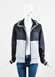 Moncler Black and Grey Knit Nylon Zip Up Windbreaker Jacket