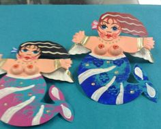 Hand Painted tin mermaid ornaments $14.00