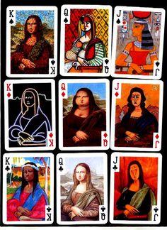 Mona Lisa Montage as a Deck of Cards, pop art. Appropriation Art, Classe D'art, Tableaux Vivants, Mona Lisa Parody, Monalisa, Ecole Art, Art Curriculum, School Art Projects, Collaborative Art