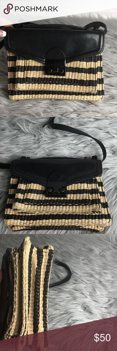 """✨Loeffler Randall mini Rider Bag✨ Loeffler Randall Mini Rider Black and Natural Raffia Shoulder Bag 8""""L x 2""""W x 5.5""""H   Pre-owned has normal signs of wear around bag please see pictures    Petite crossbody design with black and natural raffia stripes Top handle, 1"""" drop Removable, adjustable crossbody strap, 17""""-23"""" drop Lock closure in black One inside open pocket Fully lined with Loeffler classic pattern Loeffler Randall Bags Shoulder Bags"""