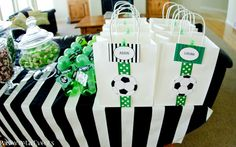 This traditional green, white & black soccer birthday party will make any little player happy on his birthday! Soccer Party Favors, Soccer Birthday Parties, Sports Birthday, Sports Party, Party Favor Bags, Birthday Favors, Birthday Diy, Soccer Treats, Soccer Snacks