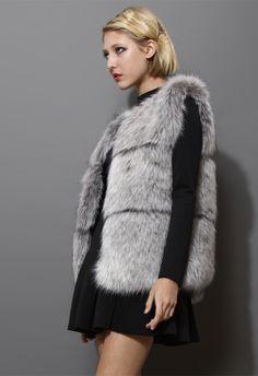 Faux Fur Vest in Grey