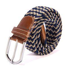 Metal Buckle Woven Stretch Waist Cummerbund Belts