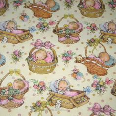 Vintage Wrapping Paper or Gift Wrap with Babies in Baskets by Hallmark - papier imprimable - Vintage Wrapping Paper, Decoupage Vintage, Gift Wrapping Paper, Vintage Paper, Baby Scrapbook, Scrapbook Paper, Scrapbooking, Baby Art, Vintage Greeting Cards