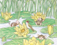 """Mudpie, Maxwell and Amanda"" from House-Mouse Designs® Floating on Lily Pads. Beatrix Potter, House Mouse Stamps, Mouse Pictures, Mouse Color, Cute Mouse, Tatty Teddy, Cute Characters, Wall Art Designs, Digital Stamps"