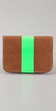 clare vivier card holder in green