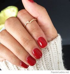 My sweet short red nails