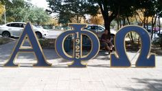 5 ft Alpha Phi Omega Fraternity letters with hidden stands made by Greek Wood Custom Designs.