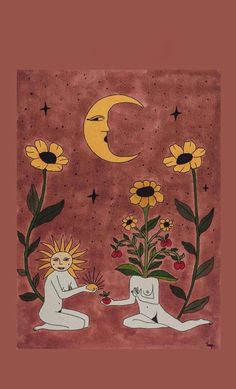 The moon and its flowers Art Sketches, Art Drawings, Arte Sketchbook, Hippie Art, Wow Art, Art Hoe, Psychedelic Art, Aesthetic Art, Oeuvre D'art