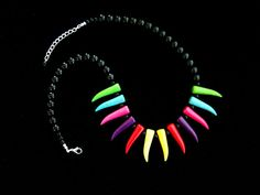 ON SALE Tribal Tooth Necklace Rainbow Colors & Black Stone Beads Cool Gifts for Her Unique Gifts for Girlfriend