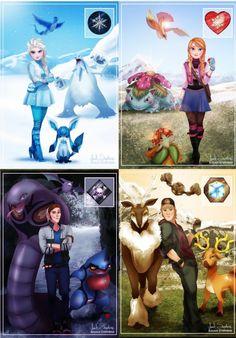 If Frozen characters were Pokemon Gym Leaders Disney Pixar, Disney Marvel, Disney Fan Art, Disney And Dreamworks, Disney Cartoons, Disney Frozen, Pokemon Crossover, Disney Theory, Frozen Characters