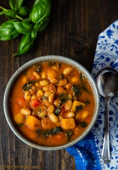 White Bean Stew with Winter Squash and Kale from Fat-Free Vegan Kitchen