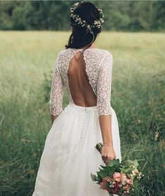 backless lace 3/5 sleeve boho wedding gown dress & bridal floral crown