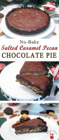 Salted Caramel Pecan Chocolate Pie | 2 Cookin Mamas A deliciously decadent pie with a crust of Oreos, a layer of caramel pecans topped with rich chocolate ganache & a sprinkle of sea salt. #recipe #dessert