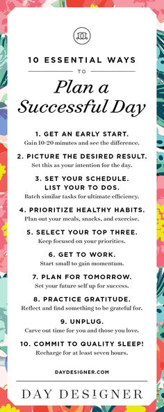 10 Essential Ways to Plan a Successful Day | Day Designer | The strategic planner and daily agenda for living a well-designed life.