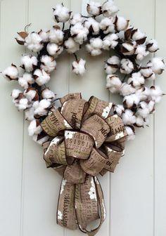 Cotton boll wreath,Louisiana wreath,Mississippi wreath,South Carolina Wreath,North Carolina Wreath,Alabama wreath,Georgia wreath,Tennessee w by DatDixieDecor on Etsy