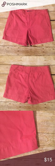 "Ralph Lauren Salmon Pink Chino Shorts Flat front no back pockets, small stain at the bottom leg on left side. Waist 16 1/2"" Length 14"" Ralph Lauren Shorts"