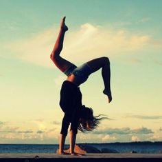 Always love doing gymnastics on the  beach! <3 #handstand #pointed-toes #beach