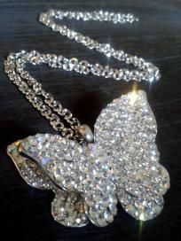 Gorgeous White Crystal Butterfly Necklace.