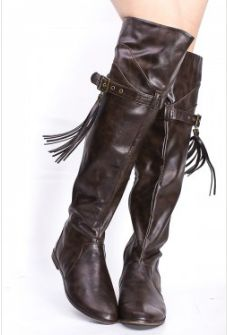 BROWN FAUX LEATHER BUCKLE TASSEL FLAT KNEE HIGH BOOTS $39.99