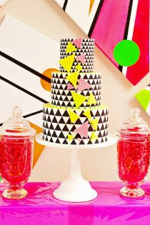 Neon Wedding Inspiration Photo Shoot in Melbourne by Little Sooti Events + Ham & Pea Design & Paperie Wedding Stationery, Wedding Invitations, Birthday Invitations, Neon Cakes, Geometric Cake, Modern Cakes, Neon Party, Prom Night, Wedding Themes