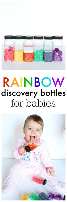 Rainbow Discovery Bottles for Babies!  So many fun possibilities!