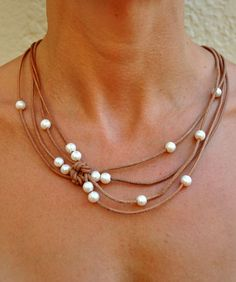 Pearl and Leather Natural Reef Knot Necklace - Pearl and Leather Jewelry Collection