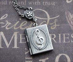 Locket Necklace in Silver Treble Clef  Music by TheEnchantedLocket