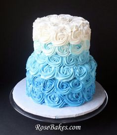 A Blue Ombre Buttercream Roses Wedding Cake for a Beach-Themed Wedding. Plus a small heart-shaped cake for the bride and groom to share! I like Ombre Cakes Alot! Torta Baby Shower, Baby Shower Cakes For Boys, Baby Boy Cakes, Boy Shower, Small Wedding Cakes, Wedding Cake Roses, Wedding Shower Cakes, Rose Wedding, Pastel Baby Niño